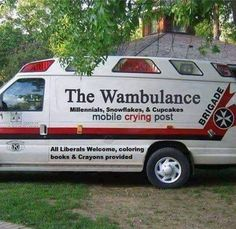 WAAAAA!!! WAAAAA!!  My daughter threatens to call the wambulance any time someone starts fussing. she got a kick out of this.