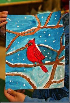 winter cardinals art project for kids