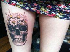 Skull With Daisies Tattoo Tattoo Tatts Tatt Tats Tat Inked Ink Body Art #tattoos, #tats, #bodyart, https://apps.facebook.com/yangutu