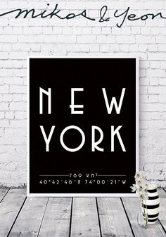 New York coordinates City print City poster New York City Print, Printable Wall Art, Digital Prints, Toronto, Poster, York, Bedroom, Fingerprints, Bedrooms