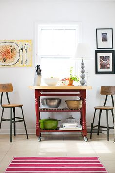 """Sneak Peek: Jessica McKay and Christopher Van Buskirk. """"We moved our Bed, Bath, and Beyond floor model kitchen island with us from our last house for extra storage. The stools are vintage."""" #sneakpeek"""