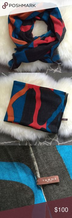 Yarnz Wool/Cashmere Scarf 90% wool 10% cashmere gorgeous slate gray/black with pops of turquoise, orange and red print. Worn once. Dry clean. ❤️no trades Yarnz Accessories Scarves & Wraps