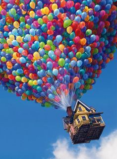 Up -  However, Carl comes up with a scheme to keep his promise to Ellie: he turns his house into a makeshift airship, using thousands of helium balloons. Russell, a young Wilderness Explorer becomes an accidental passenger in his effort to earn his final merit badge for assisting the elderly.
