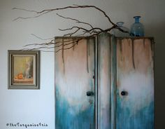 Multi Color Large Handpainted Armoire / One of a Kind Wardrobe / Antique Furniture / Painted Drip Design / Rustic Boho