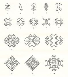 Symbols and ornamental motives in folk art of Moldova - Photo gallery Folk Embroidery, Embroidery Patterns, Cross Stitch Designs, Cross Stitch Patterns, Romanian Lace, Pixel Pattern, Point Lace, Simple Cross Stitch, String Art