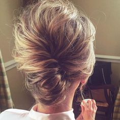 twisted messy updo for senior bridesmaids