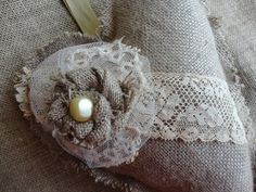 Shabby Chic Embellished Burlap Heart Vintage Look by JunqueSeeker, $9.00
