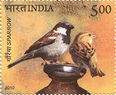 09th July 2010: A commemorative postage stamp on  SPARROW  Denomination INR 05.00