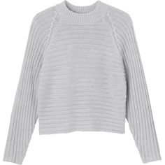 Monki Bonita knitted top ($12) ❤ liked on Polyvore featuring tops, sweaters, soft concrete, monki, crew neck top and crew top