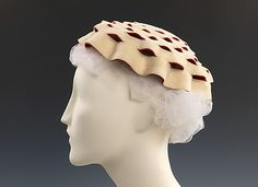 """Airwave"" Wool Hat by Sally Victor, 1952, inspired by a Japanese Samurai Helmet in the Met Collection and first designed for Mamie Eisenhower"