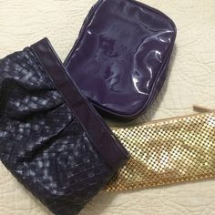 "REDUCED Bundle of 3 Tarte Makeup Bags The gold pouch has a zipper at the top and is wide enough for an iPhone 5. Approximately 3.5"" x 7.5"" The rectangle purple pouch has an easy to clean, plastic exterior, a zipper that wraps all the way around three sides, and inside has a zipper pouch on the right and brush slots on the left. Approximately 7"" x 5.5"" x 1.5"" The faux woven purple clutch is about 4.5"" x 9"" x 2"" and holds a ton. It makes a great makeup bag, clutch, or organizer in a large…"