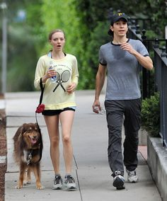 Amanda Seyfried and Justin Long went power walking with her dog Finn. | 12 Things Celebrities Did This Week