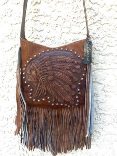 Raviani Indian Head Native Western Leather Hide Cross Body Handbag Purse Fringe #Raviani #MessengerCrossBody