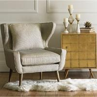 Storage Furniture - Franklin Side Cabinet - Gold Leaf   DwellStudio - mid-century modern side table, gold leafed modern side table, mid-cent...