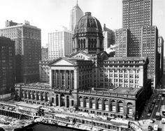 The Chicago Federal Building, Chicago, IL. The Chicago Federal Building was a place of mammoth proportions with a rotunda larger than that of Washington, DC's Capital Building. It stood for sixty years, from its completion in 1905 to its quiet demolition in 1965. It was replaced with Mies van der Rohe's modernist Kluczynski Federal Building—a far cry from the Beaux Arts extravagance of this lost treasure.
