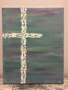 This is a inch abstract cross painting on a back stapled canvas. Purple, green, and blue hues were used. The cross is done in white acrylic paint. Create Canvas, Diy Canvas Art, Acrylic Painting Canvas, Abstract Canvas, Canvas Ideas, Family Painting, Back Painting, Christian Paintings, Christian Art