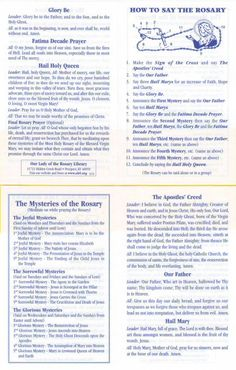 How to Say the Rosary leaflet (15 Mysteries)