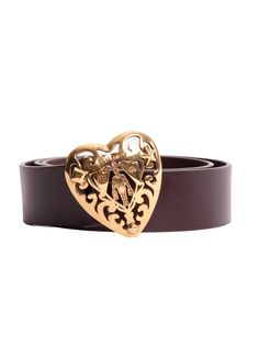 Gucci | Heart Logo Belt in brown www.sabrinascloset.com