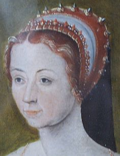 1540 example w/extra layer or fold of white, and SPIKEY jewels!! Detail of Anne de Pisseleu - French Hood Images - Tudor Research - www.kimiko1.com