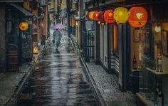 Rainy day in Gion, Kyoto, Japan
