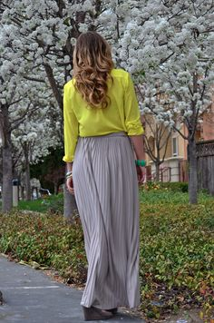 wear this: maxi skirt and yellow blouse