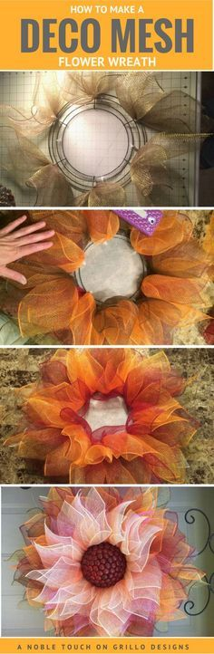 How To Make A Deco Mesh Wreath Making a deco mesh flower wreath has never been so easy! Michelle from A Noble Touch shares a step by step tutorial for this gorgeous Fall flower wreath The post How To Make A Deco Mesh Wreath appeared first on Easy flowers. Fall Crafts, Holiday Crafts, Crafts To Make, Diy Crafts, Simple Crafts, How To Make Wreaths, Wreath Crafts, Diy Wreath, Wreath Making
