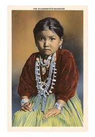 Vintage Color photo of a little Navajo Girl