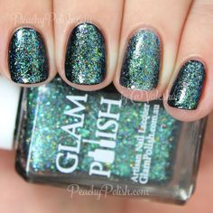 Glam Polish Star Shadow | Fantasia Flakies Collection | Peachy Polish - looks great over black; good thing I don't really like flakies for myself though ;)