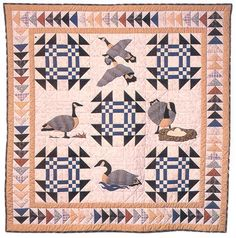 "Everyone Needs a Goose, 59 x 59"", pattern by Mary Gay Leahy & Jane Davila.  Appliqued Canada Geese alternating with Goose in the Pond blocks, framed by a Flying Geese border."