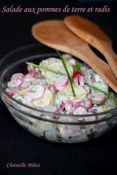 Salade aux pommes de terre et radis (rajouter des boulots cuits)