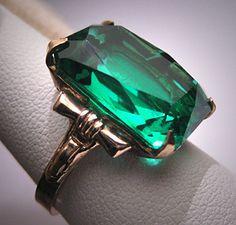 Antique Emerald French Paste Ring Art Deco Retro 1920