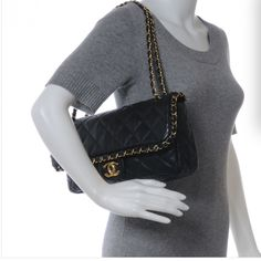 Rare Chain Me Flap CHANEL Bag in Black Kidskin Treat yourself to this gorgeous flap bag which can be worn with chains doubled up or long to wear cross body. Excellent condition inside and out, used very few times. Purchased directly from CHANEL store in Miami. Receipt, dust bag, authenticity card included. 12x7x3 CHANEL Bags