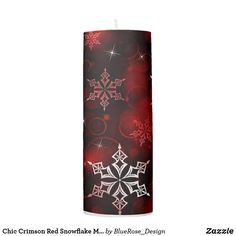 Chic Crimson Red Snowflake Motif Pillar Candle Holiday Cards, Christmas Cards, Christmas Decorations, Flameless Candles, Pillar Candles, Custom Candles, Candle Set, Christmas Items, Christmas Card Holders