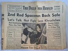 8-7-1961 Dallas Times Herald Newspaper Gherman Titov Astronaut Cosmonaut Orbit