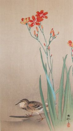 Ronin Gallery Koson Ohara Pipit on a Riverbank