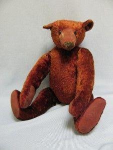 "15"" Antique German Plush CINNAMON-RED TEDDY BEAR Shoe Button Eyes & Long Muzzle"