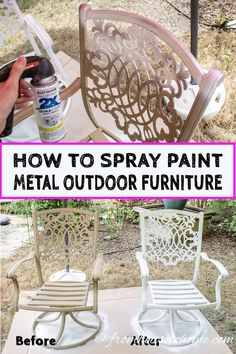 metal furniture Learn how to paint metal patio furniture and the best type of paint to use for an easy and cheap way to upgrade your outdoor decor. Painting Patio Furniture, Painted Outdoor Furniture, Metallic Painted Furniture, Patio Furniture Makeover, Metal Patio Furniture, Metallic Spray Paint, Colorful Furniture, Furniture Ideas, Antique Furniture