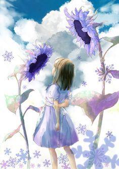 Фото Маленькая девочка в белом платье в окружении подсолнухов на фоне облачного неба  Фото Маленькая девочка в белом платье в окружении подсолнухов на фоне облачного неба