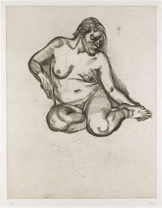 Artwork by Lucian Freud, Girl Holding Her Foot, Made of Etching, on Somerset Satin paper, with full margins Lucian Freud, Sigmund Freud, Human Figure Drawing, Life Drawing, Statues, A Level Art, Figure Painting, Figurative Art, Drawing Reference