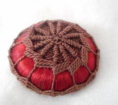 VINTAGE Needlework Cord Design on Red Fabric BUTTON
