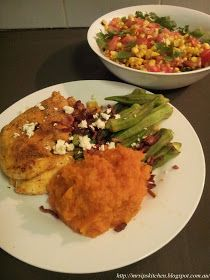 Mrs. Ip's Kitchen: Jamie Oliver's 15 Minute Meals Spicy Cajun Chicken with Smashed Sweet Potato & Fresh Corn Salsa