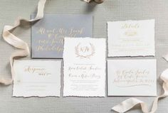 Hand lettered script wedding invitation suite with foil stamping and design by Jupiter and Juno.