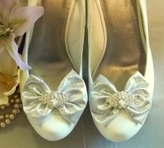 Silver Bow Shoe Clips  set of 2  with sparkling by ShoeClipsOnly, $38.00