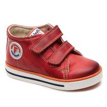 Naturino  Falcotto Michael Trainer: These stylish little trainers by Naturino come in red, beige or navy soft leather and feature two adjustable Velcro straps, a rubber outsole and 'F' branding on the side.