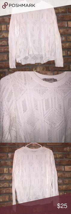 White sweater Lightweight white sweater with geometric pattern. Excellent condition only worn once. LOFT Sweaters Crew & Scoop Necks