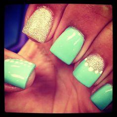 Light green silver nails