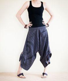 Harem Kanok Swirl Curl Pattern Unisex Textured Cotton Pants with Pull Up Hem (Dark Purple TN-3)