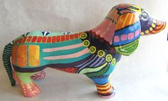 Paper Mache Dachshund.  We designed and created our paper mache animals just for Yucandu.  Our originals become your originals.
