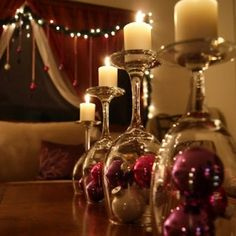 Wine glass candle holders Christmas balls with theme colour