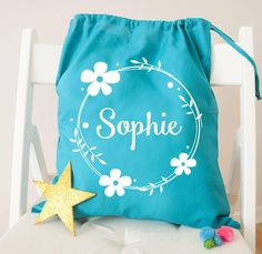 Personalised Kids Floral Wreath Drawstring Bag Back to Christmas Bags f3bd88e445ad8